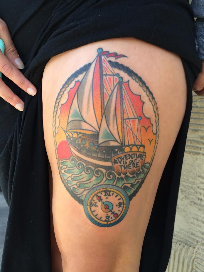 Traditional Ship With Compass In Rope Frame Tattoo On Girl Left Side Thigh By Justin Brooks