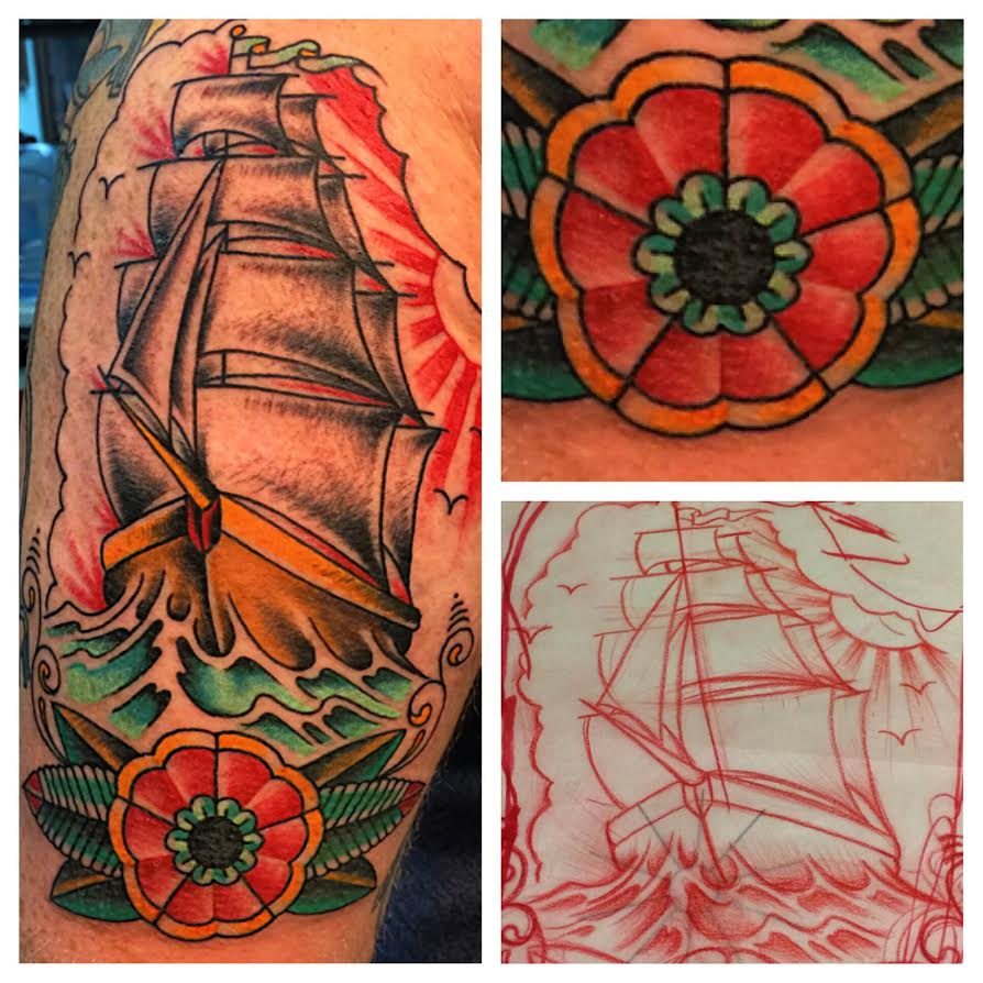 Traditional Ship With Flower Tattoo On Half Sleeve By Justin Brooks