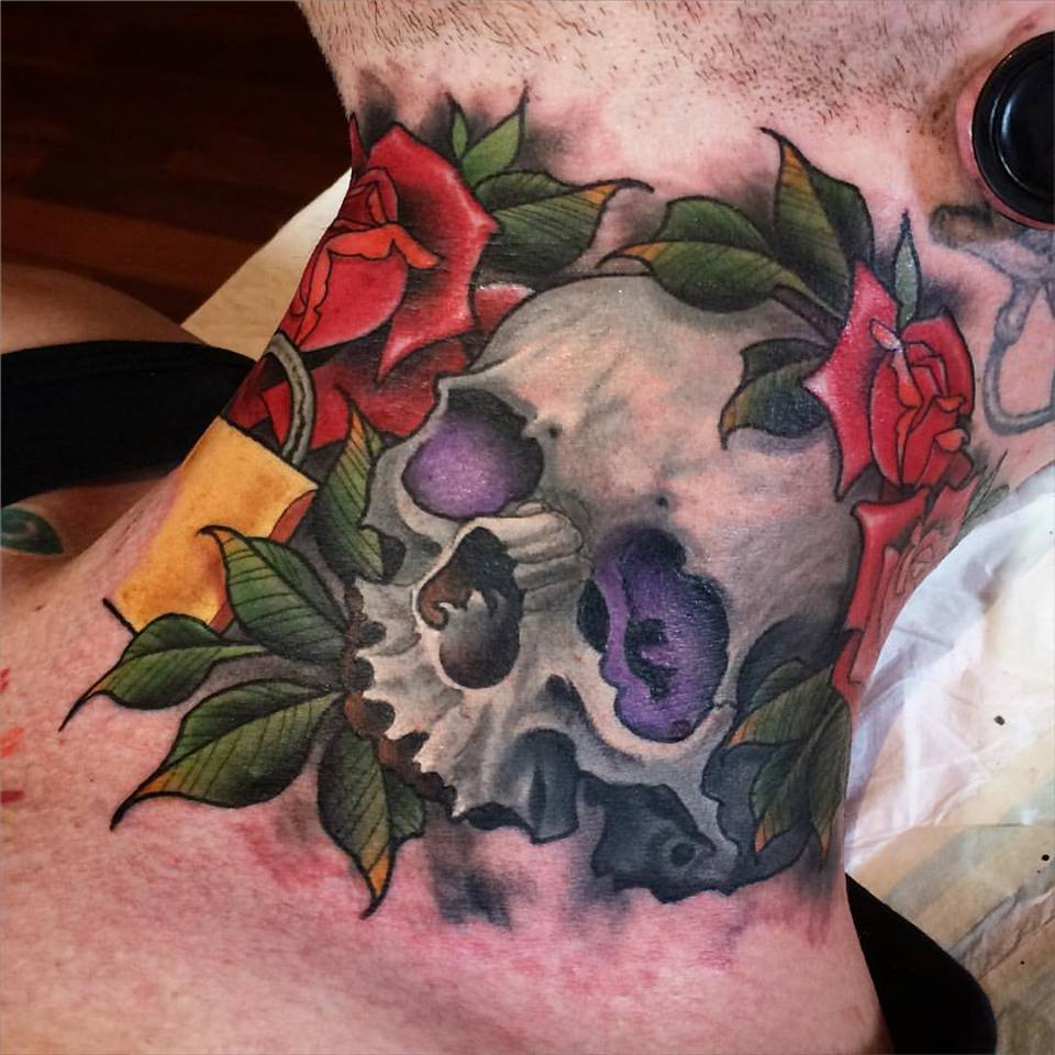 Traditional Skull With Roses Tattoo On Man Right Side Neck By Crispy Lennox