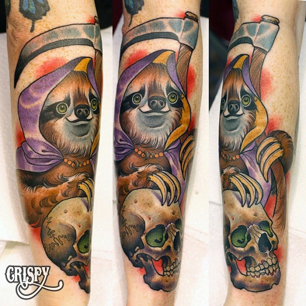 Traditional Sloth With Skull Tattoo On Right Arm By Crispy Lennox