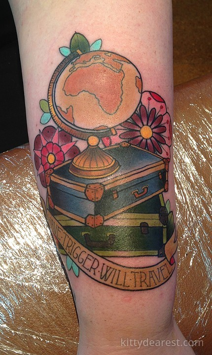 Traditional Two Suitcase With And Banner Tattoo On Forearm By Kitty Dearest