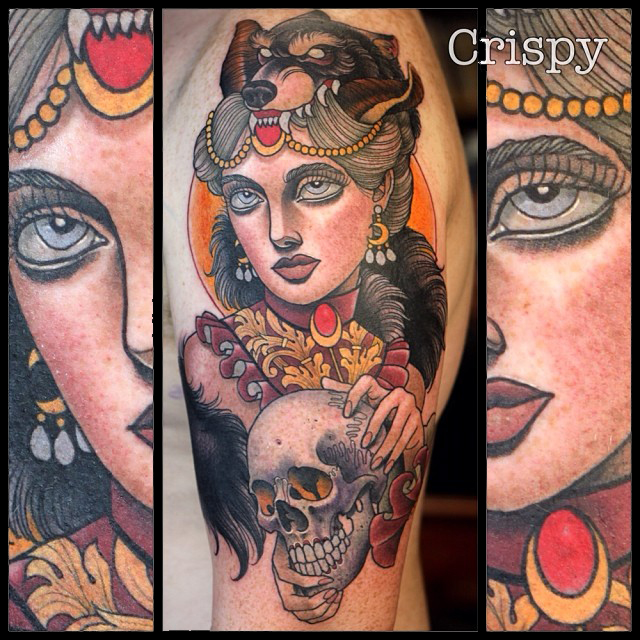 Traditional Wolf Head Girl With Skull Tattoo On Left Half Sleeve By Crispy Lennox