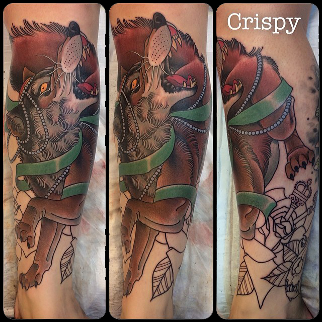 Traditional Wolf Tattoo On Left Leg By Crispy Lennox