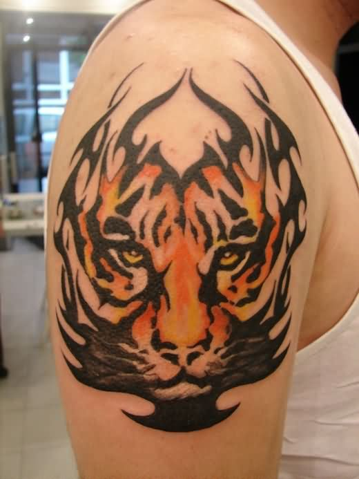 Tribal Tiger Tattoo On Man Right Shoulder