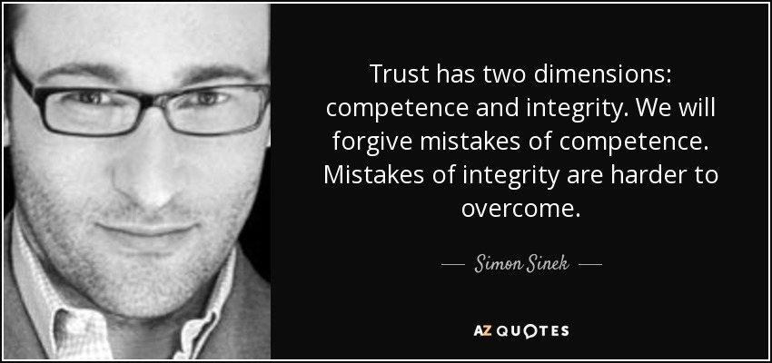 Trust has two dimensions competence and integrity. We will forgive mistakes of competence.... Simon Sinek