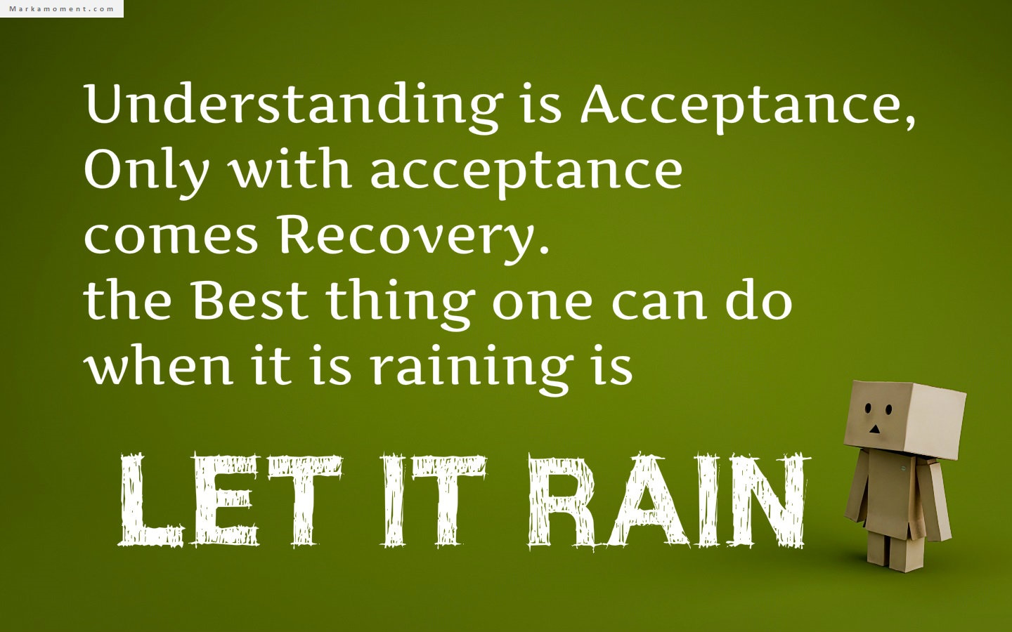 Understanding is the first step to acceptance, only with acceptance comes recovery. The best thing one can do when it is raining is let it rain.
