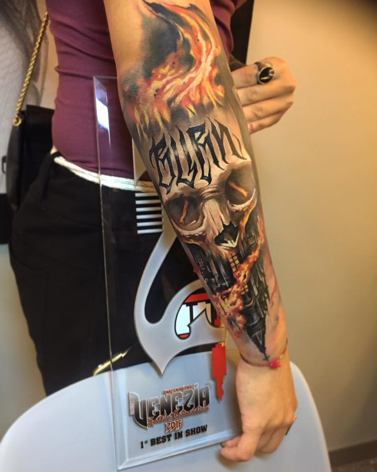 Unique 3D Flaming Skull Tattoo On Right Arm By Benjamin Laukis