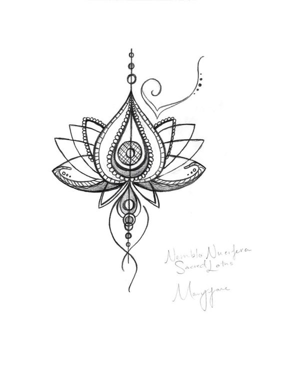 Unique Abstract Lotus Flower Tattoo Design