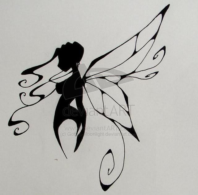Unique Black Fairy Tattoo Design