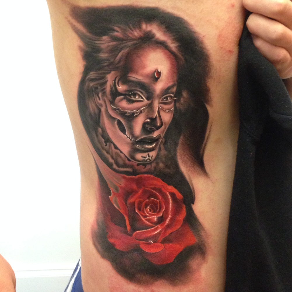 Unique Black Ink Girl Face With Rose Tattoo On Right Half Sleeve By Fabz