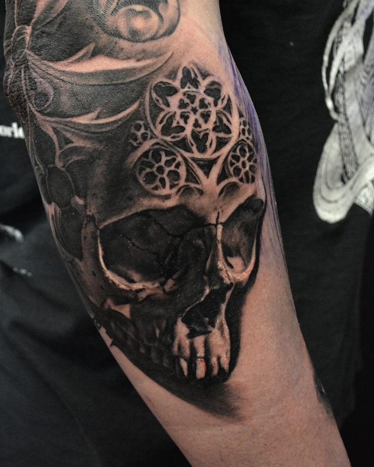 Unique Black Ink Skull Tattoo Design For Sleeve By Hokowhitu Sciascia