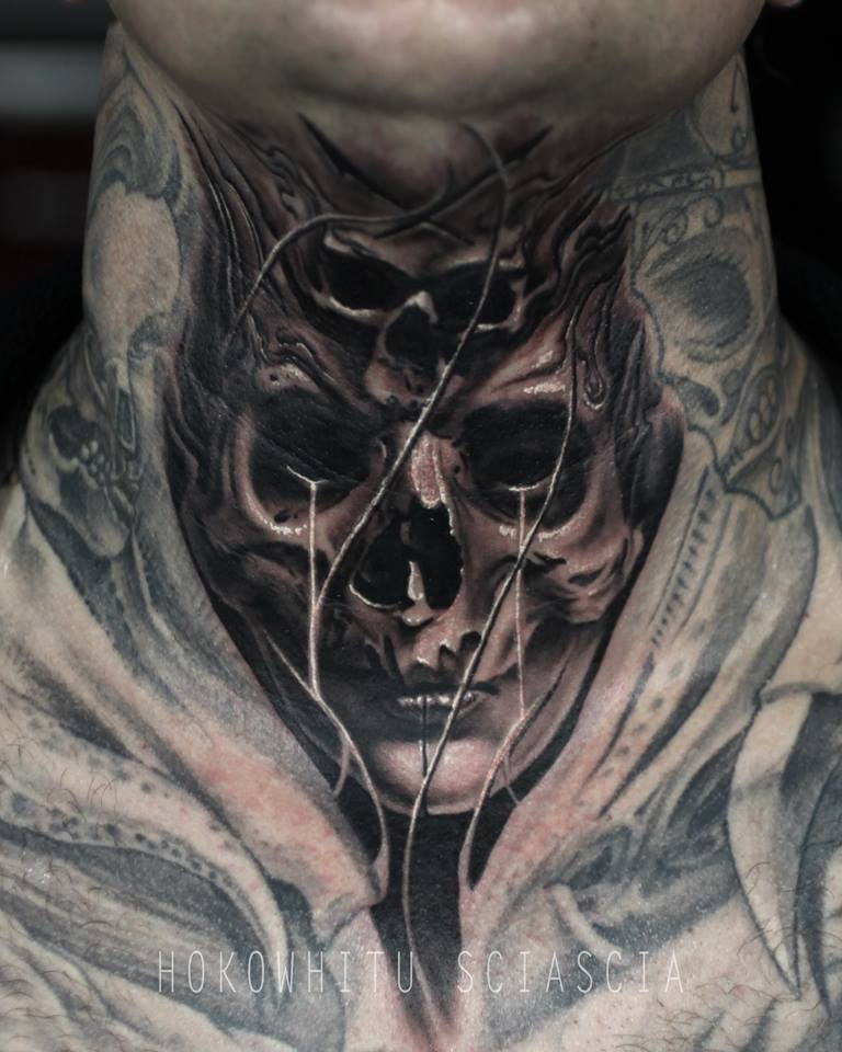 Unique Black Ink Skull Tattoo On Man Neck By Hokowhitu Sciascia