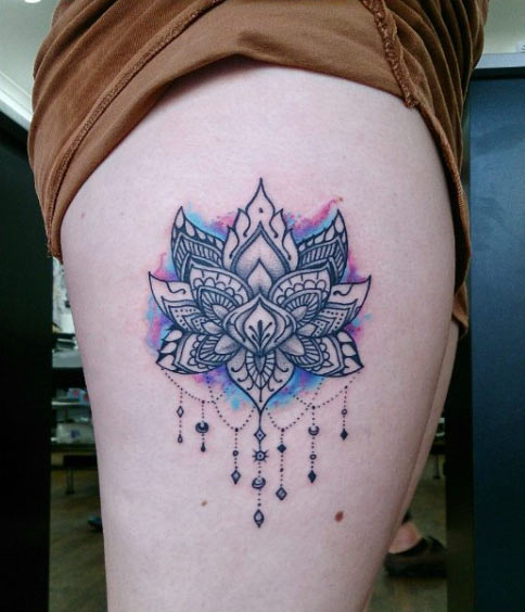 Unique Lotus Flower Tattoo On Right Side Thigh By Aleks Mothra