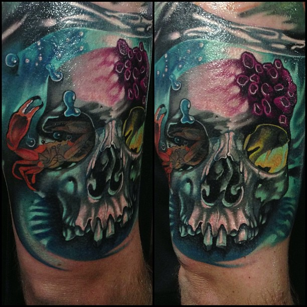 Unique Skull With Crab Tattoo On Right Half Sleeve By Fabz