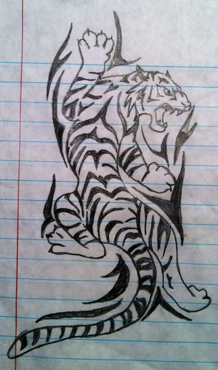 Unique Tribal Tiger Tattoo Design