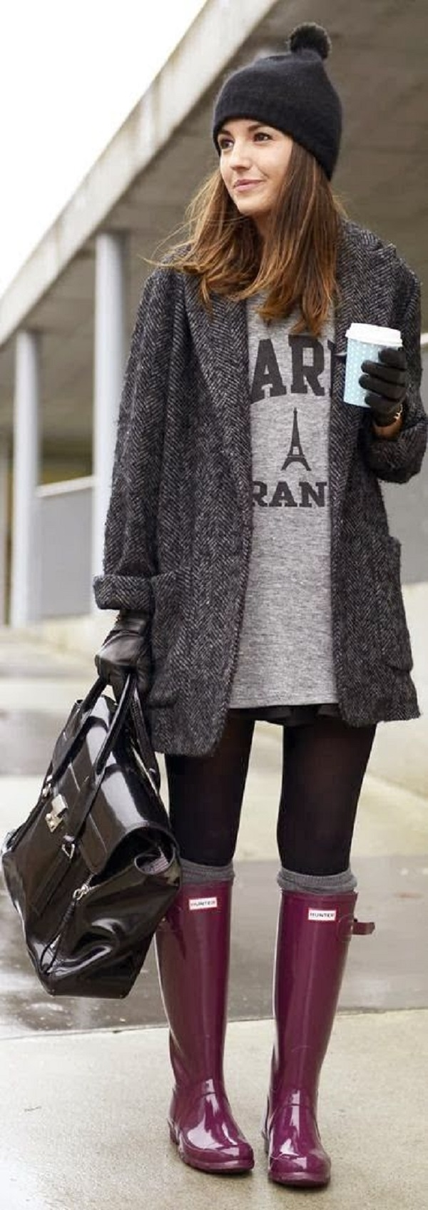 Warm-long-coat-with-grey-sweater-Hunter-purple-boots-and-pure-black-leather-handbag.-I-call-that-Winter-casual1