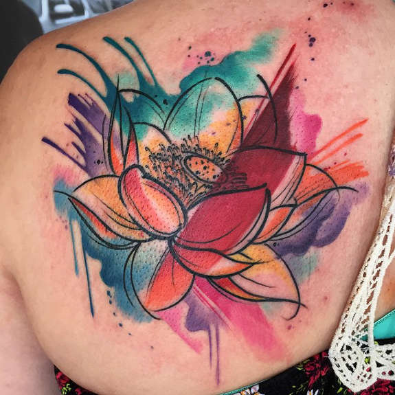 Watercolor Lotus Flower In Water Tattoo On Left Back Shoulder