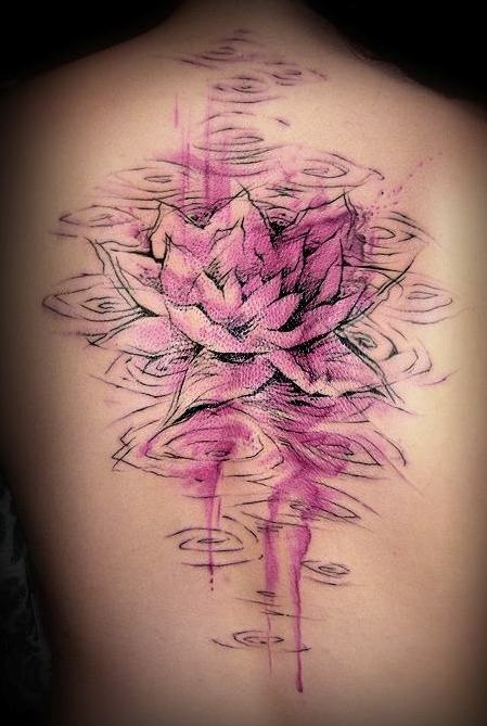 Watercolor Lotus Flower In Water Tattoo On Upper Back