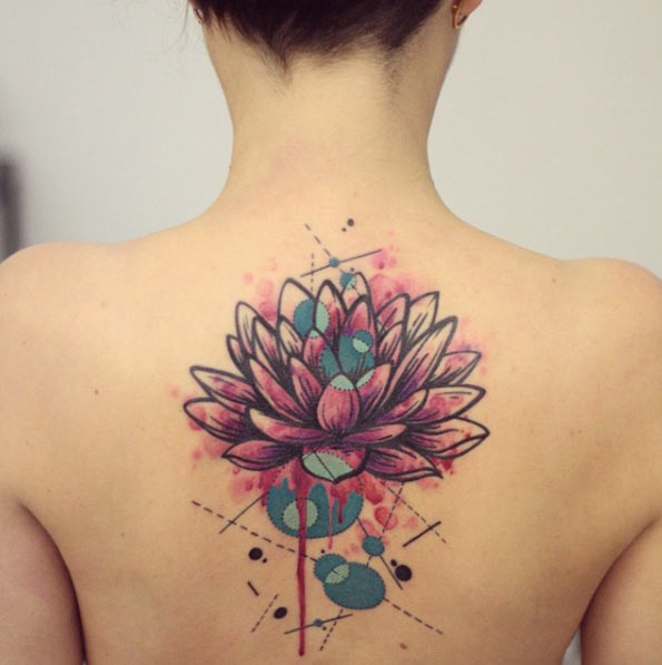 Watercolor Lotus Flower Tattoo On Man Upper Back