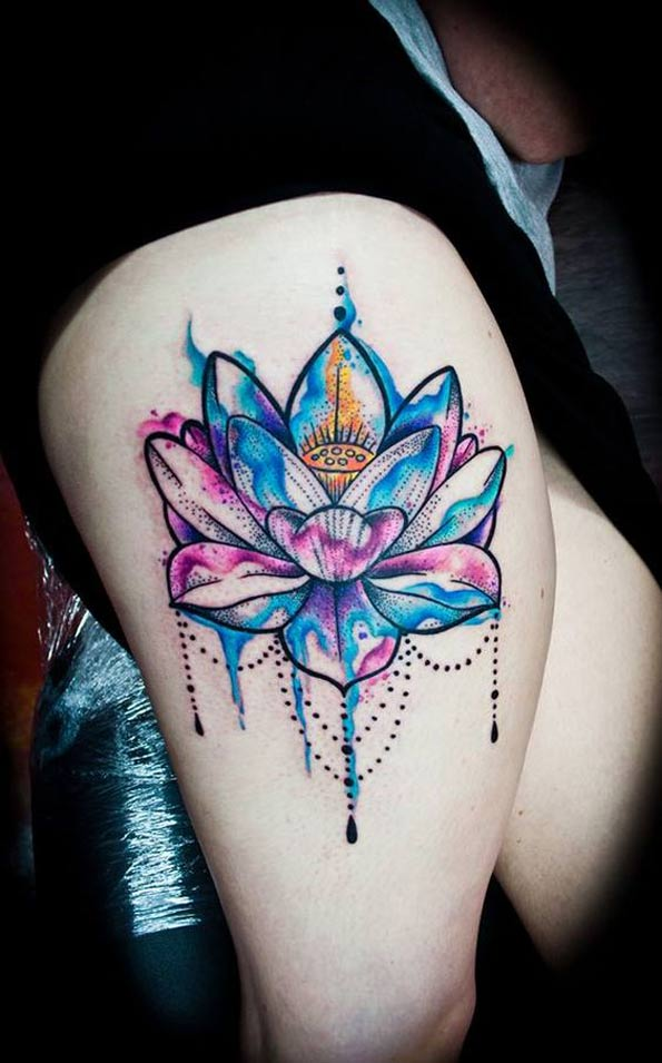 Watercolor Lotus Flower Tattoo On Right Thigh