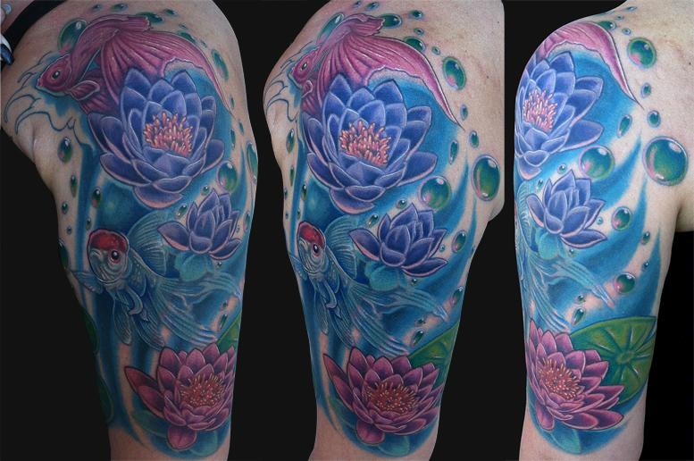 Watercolor Lotus Flowers In Water Tattoo On Left Half Sleeve