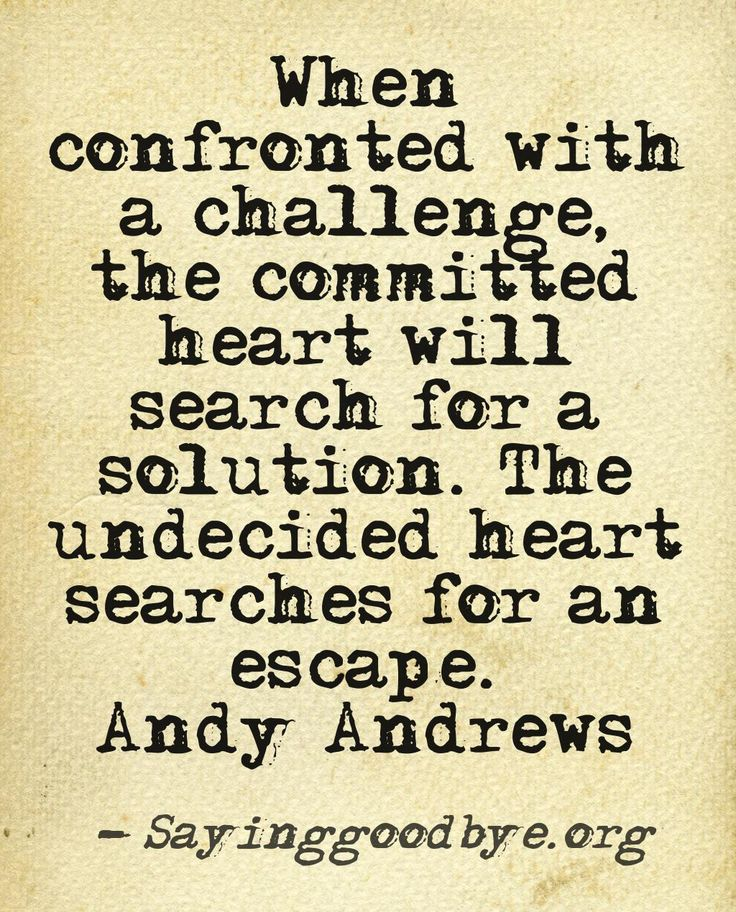 When confronted with a challenge, the committed heart will search for a solution. The undecided heart searches... Andy Andrews