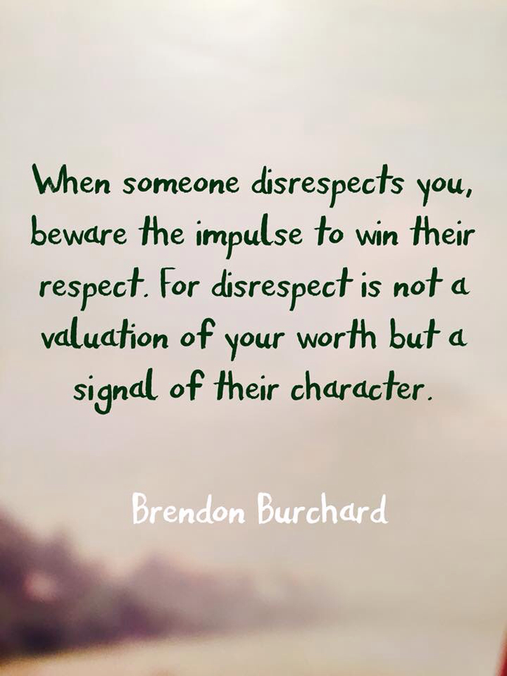 When others disrespect you beware the impulse to win their respect. For their disrespect is not a valuation of your worth but a signal of their character. Brendon Burchard