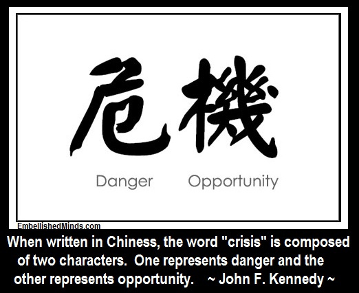 When written in Chinese, the word 'crisis' is composed of two characters. One represents danger and the other represents opportunity. John F. Kennedy