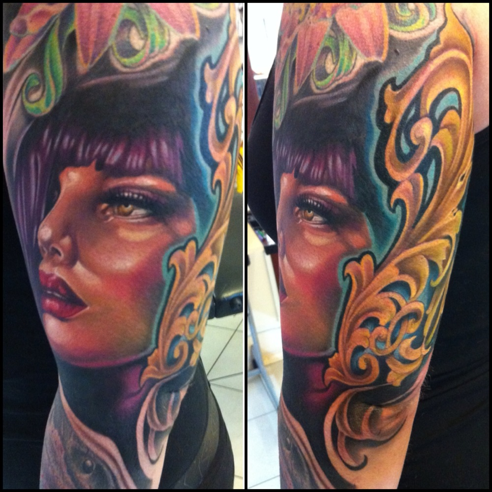 Wonderful 3D Girl Face Tattoo On Women Left Half Sleeve By Fabz