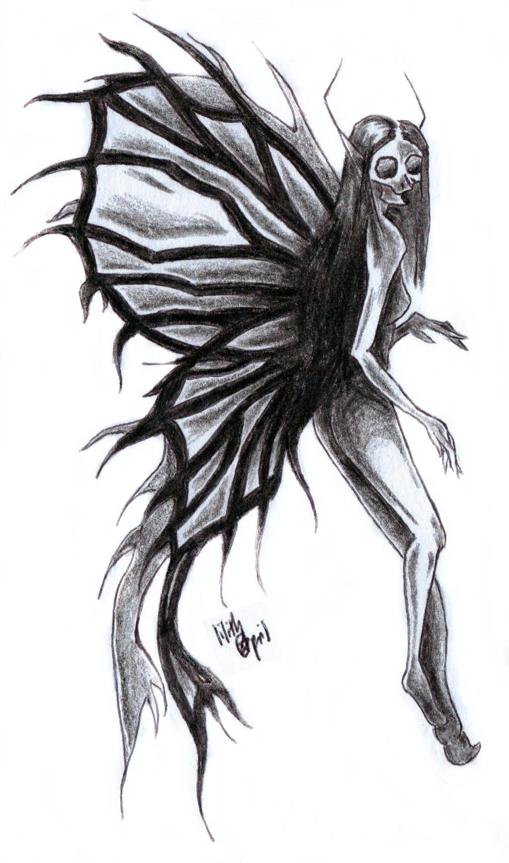 Wonderful Black And Grey Fairy Tattoo Design