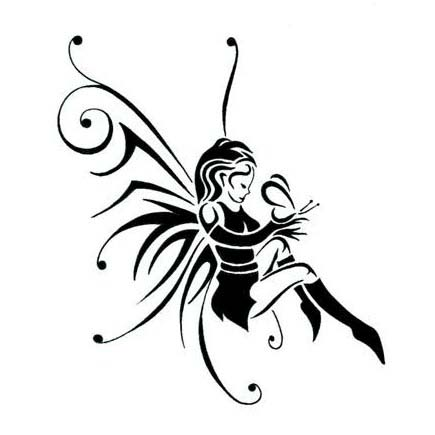 Wonderful Black Tribal Fairy Tattoo Stencil