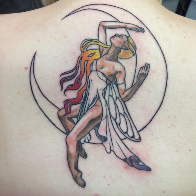 Wonderful Fairy With Half Moon Tattoo On Upper Back