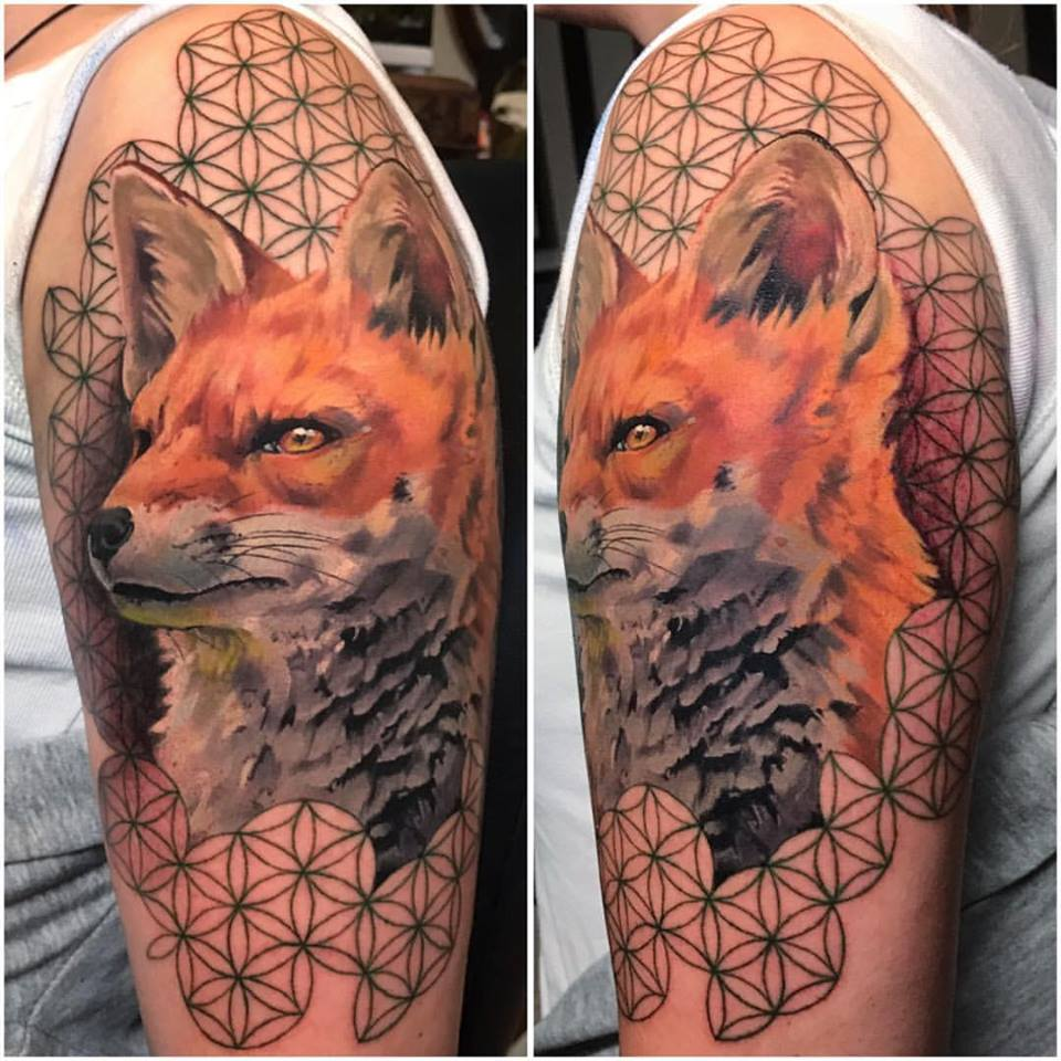 Wonderful Fox Tattoo On Man Left Half Sleeve By Crispy Lennox