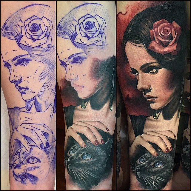 Wonderful Girl With Cat Portrait Tattoo Design For Half Sleeve By Benjamin Laukis
