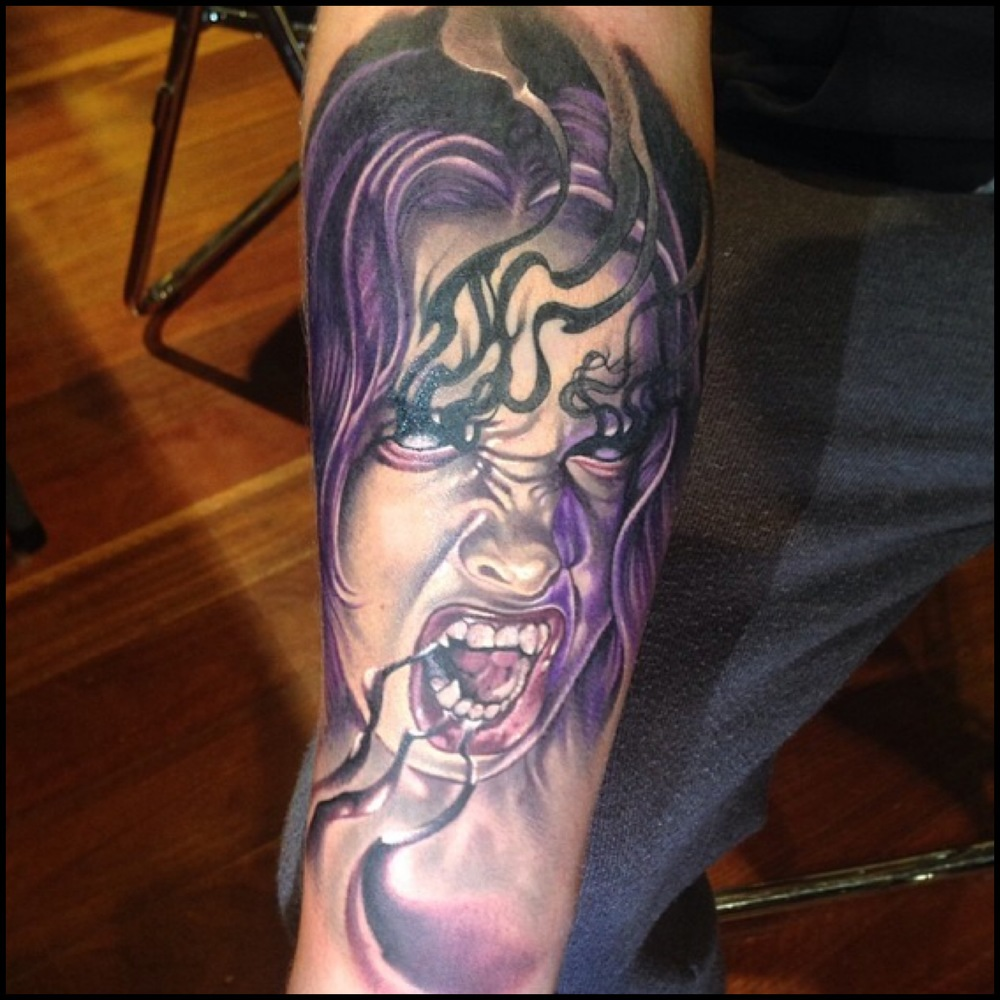 Wonderful Horror Girl Face Tattoo On Right Forearm By Fabz