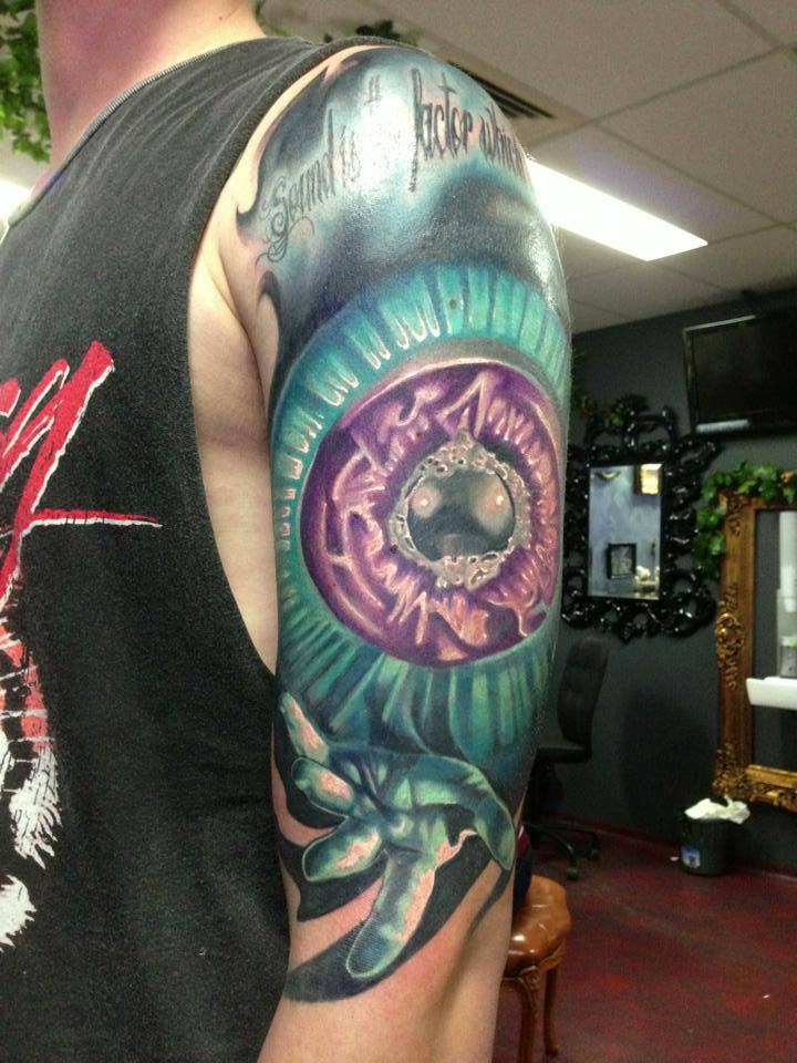 Wonderful Karnivool Sound Awake Tattoo On Man Left Half Sleeve By Fabz