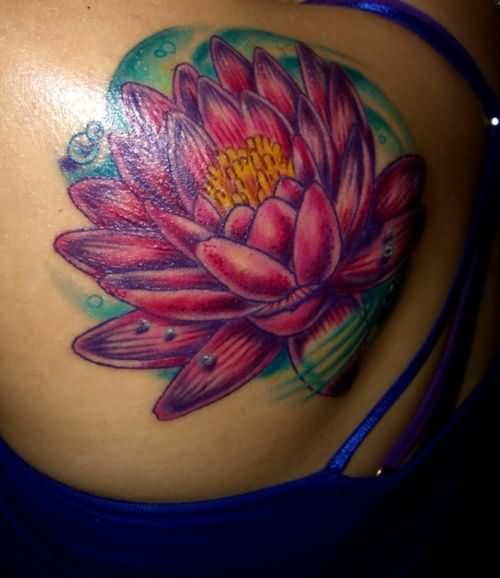Wonderful Lotus Flower In Water Tattoo Design For Back Shoulder