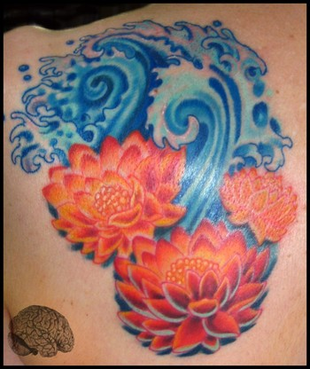Wonderful Lotus Flowers In Water Tattoo Design For Back Shoulder