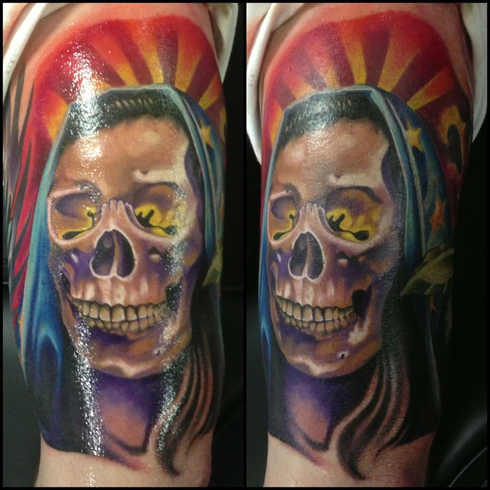 Wonderful Muerta Maria De Guadalupe Skull Tattoo On Left Half Sleeve By Fabz