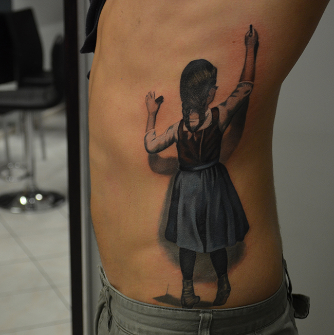 Wonderful School Girl Tattoo On Man Left Side Rib By Ben Thomas