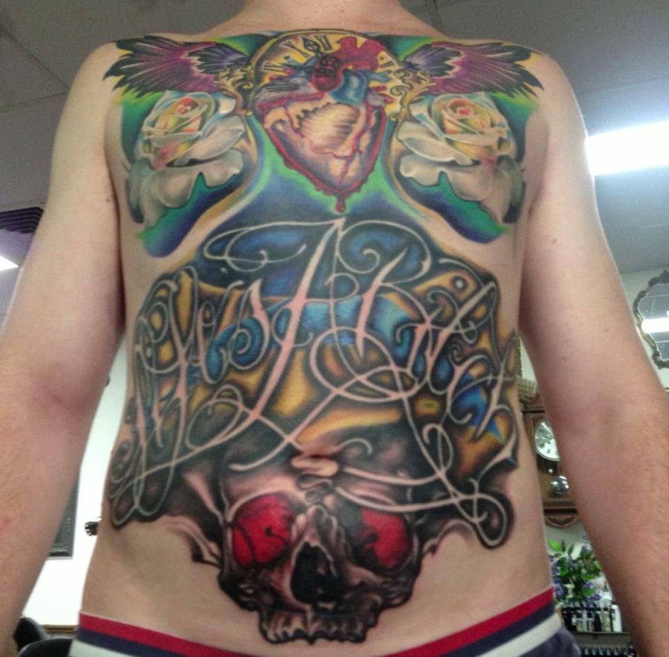 Wonderful Traditional Real Heart With Roses And Skull Tattoo On Man Full Body By Fabz