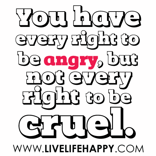 You Have Every Right To Be Angry, But Not Every Right To Be Cruel