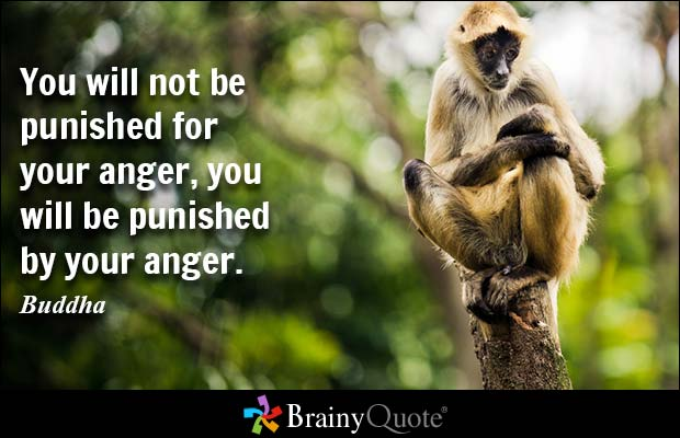 You will not be punished for your anger, you will be punished by your anger. Buddha