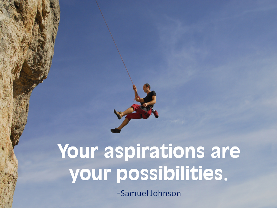 Your aspirations are your possibilities. Samuel Johnson