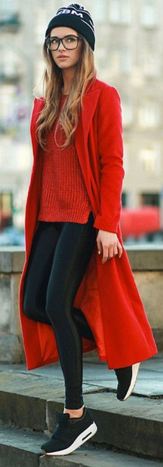 black-sneakers-leather-skinnies-red-sweater-red-coat-black-beanie