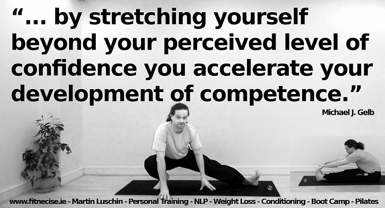 ... by stretching yourself beyond your perceived level of confidence you accelerate your development of competence.  Michael Gelb