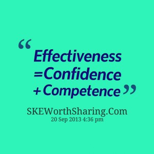 effectiveness = confidence competence
