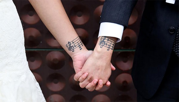 Amaze musical tattoo design for couple