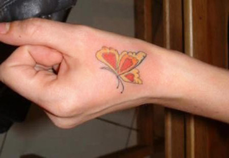 Butterfly Hand Tattoo Design