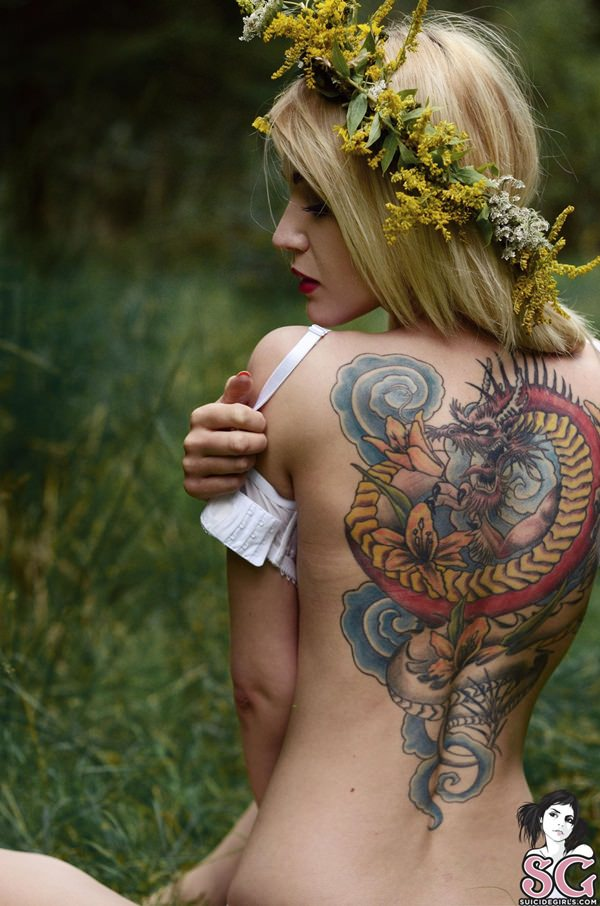 Beautiful girly tattoo designs for back